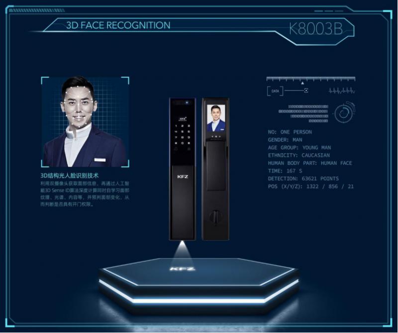 3D结构光+可视猫眼远程开锁,KFZ重磅发布K3008B引领行业迈入3D智能锁人脸时代!456